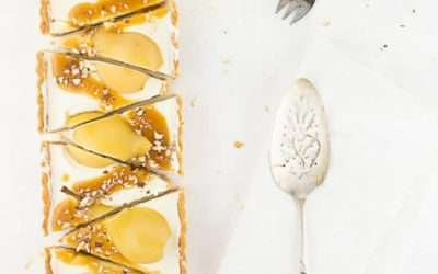 Pear Cheesecake with Bourbon Butterscotch Sauce