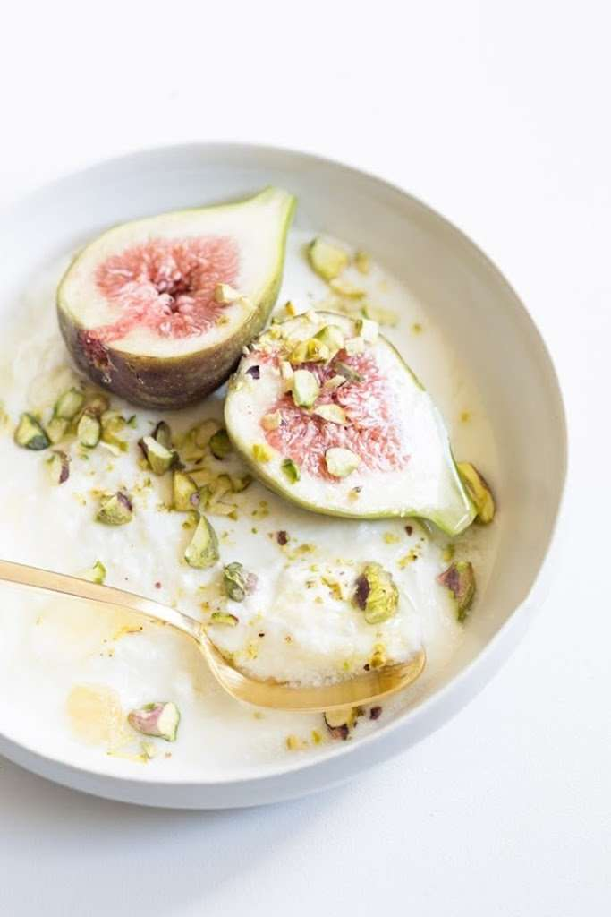 Figs On A Creamy Pillow Of French Yogurt & Honeycomb Topped With Pistachios